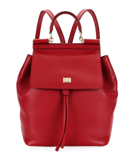 Dolce And Gabbana Red Small Sicily Backpack