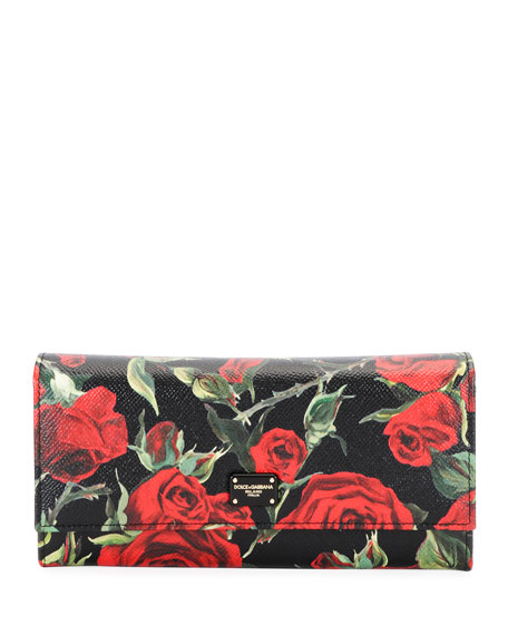 Dolce & Gabbana Roses Stampa Dauphine Continental Wallet