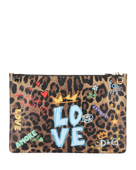 Leo Graffiti Leather Crossbody Pouch Bag