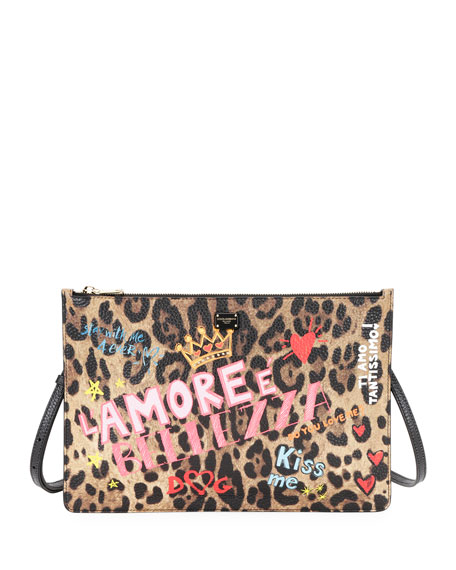 Dolce & Gabbana Leo Graffiti Leather Crossbody Pouch