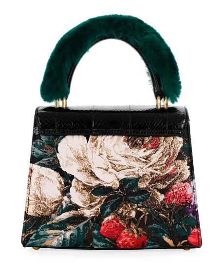 Welcome Medium Snakeskin Fur-Handle Shoulder Bag