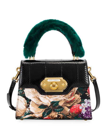 Welcome Medium Snakeskin Fur-Handle Shoulder Bag