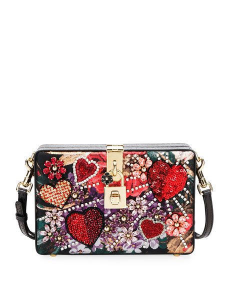 Dolce Box Snakeskin and Floral Shoulder Bag