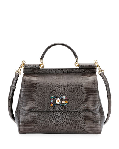 Sicily Large Plus Stampa Iguana Top-Handle Bag