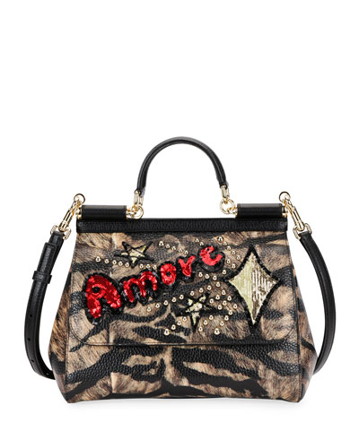 Sicily Medium Tigre Amore Top-Handle Bag