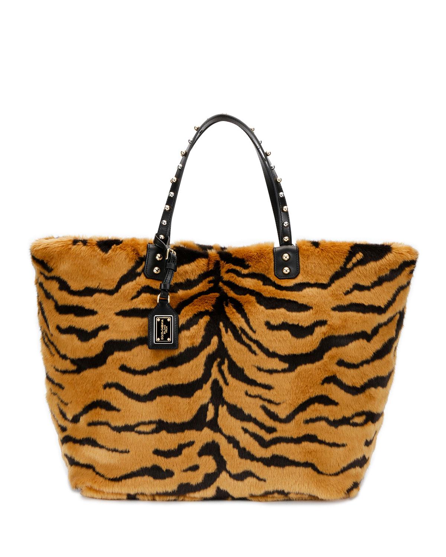 Dolce   Gabbana Beatrice Pellicciotto Tiger Faux-Fur Shopping Tote ... e6341e6e6b