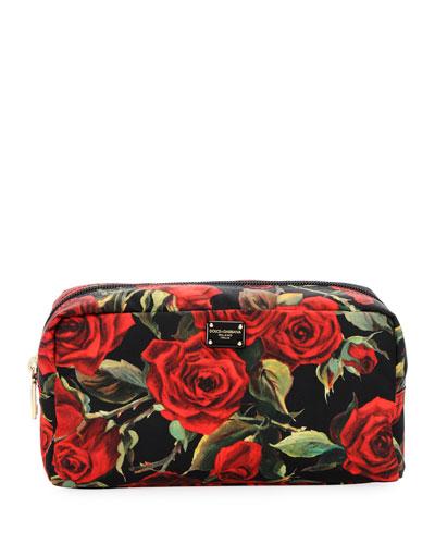 Roses Nylon Stampato Cosmetics Bag