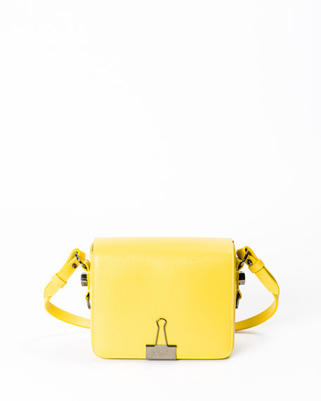 Leather Flap Crossbody Bag with Binder-Clip Detail