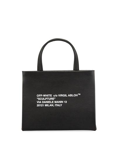Small Diagonal-Stripe Box Tote Bag
