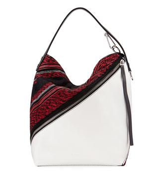 792c906e75 Proenza Schouler Medium Woven-Fabric Leather Hobo Bag