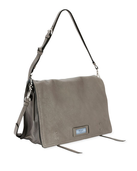 Etiquette Large Glace Calf Leather Shoulder Bag