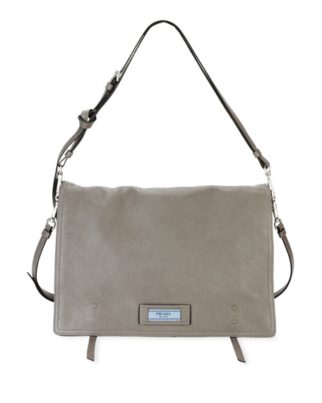 Prada Etiquette Large Glace Calf Leather Shoulder Bag