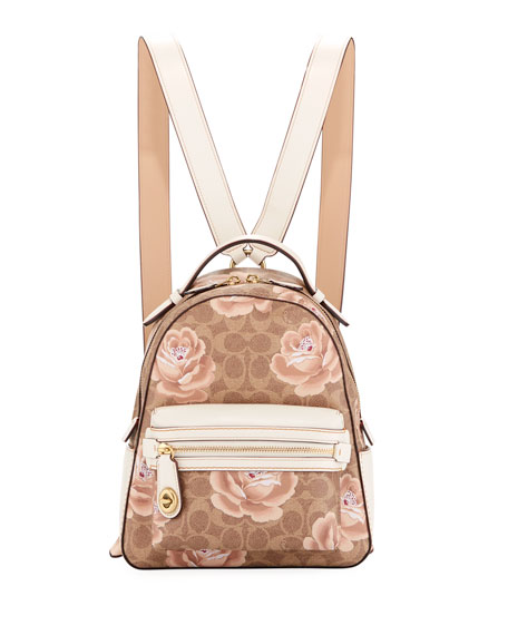 Coach Campus 23 Coated Canvas Signature Rose Backpack