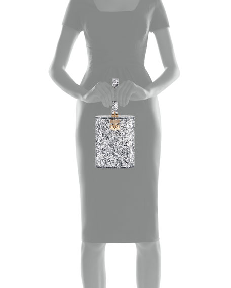 Oval Glitter Minaudiere Bag