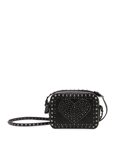 Rockstud Heart Crossbody Bag, Black