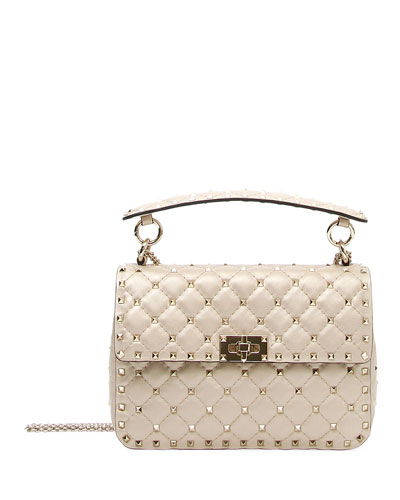 Rockstud Spike Medium Quilted Leather Shoulder Bag