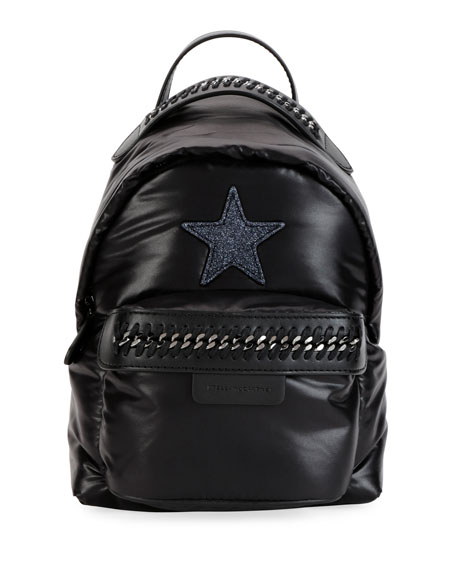 Falabella Mini Go Star Nylon Backpack in Black