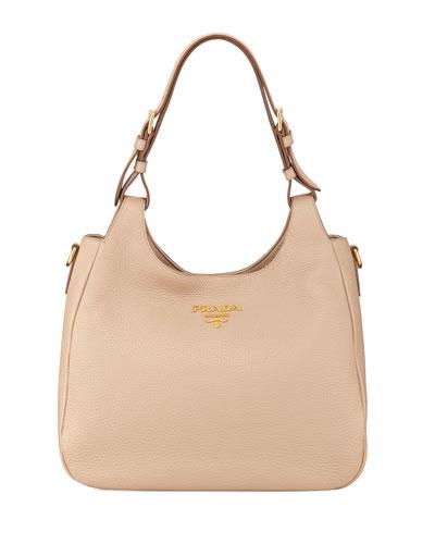 Medium Daino Leather Hobo Bag