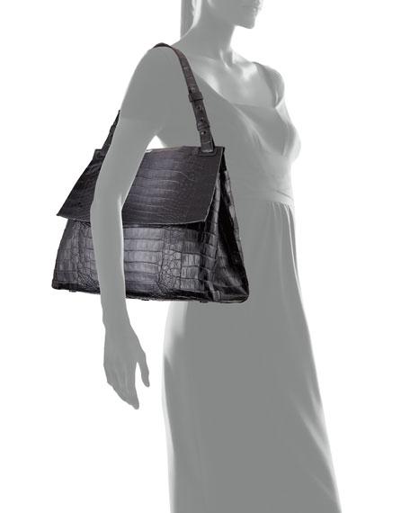 Large Crocodile Flap Shoulder Bag