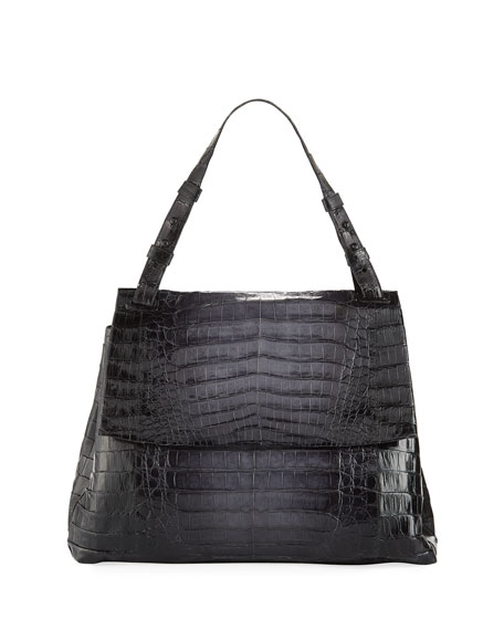 Large Crocodile Flap Shoulder Bag