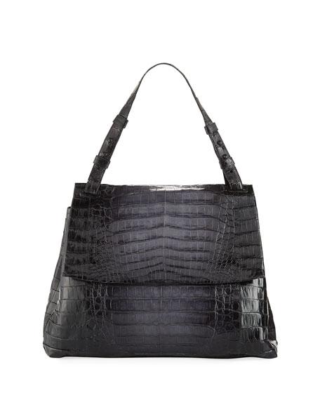 Nancy Gonzalez Large Crocodile Flap Shoulder Bag