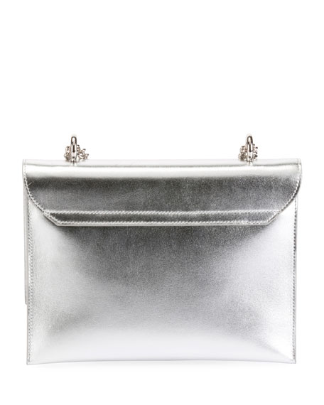 Club Chain Metallic Leather Evening Clutch Bag
