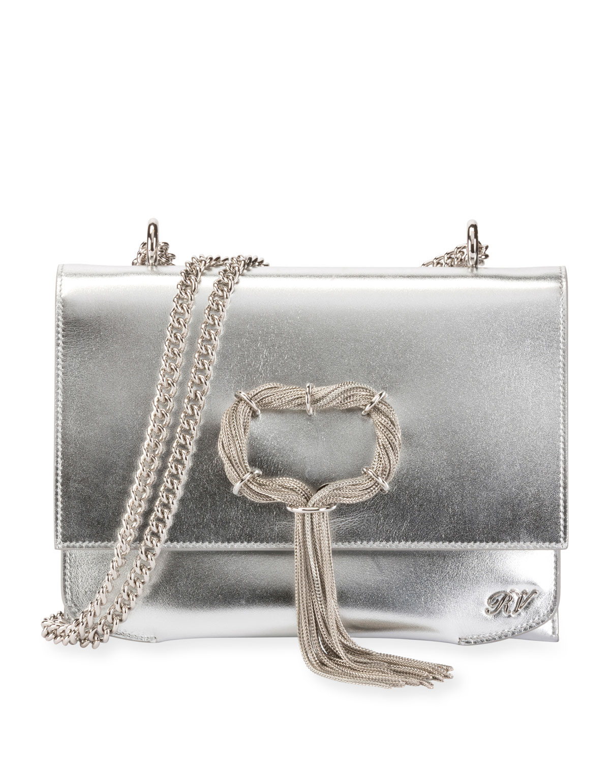620c6614a9 Roger Vivier Club Chain Metallic Leather Evening Clutch Bag
