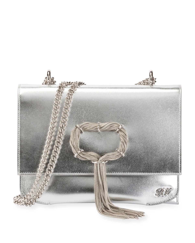 Roger Vivier Club Chain Metallic Leather Evening Clutch Bag   Neiman ... 1a6c830e72
