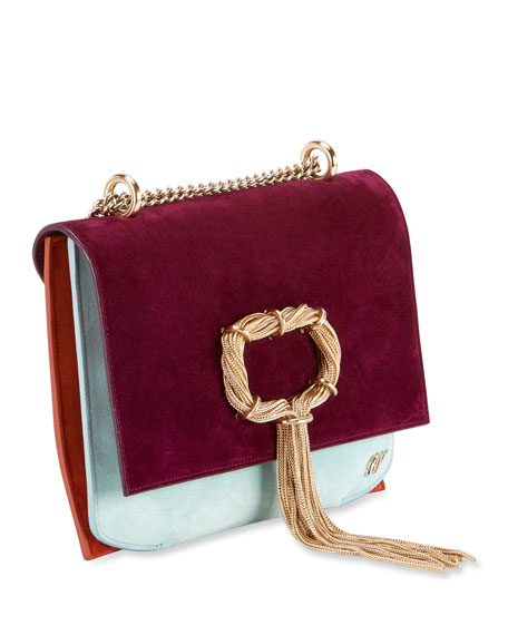 Club Chain Colorblock Suede Evening Clutch Bag