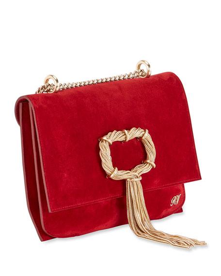 Club Chain Suede Evening Clutch Bag