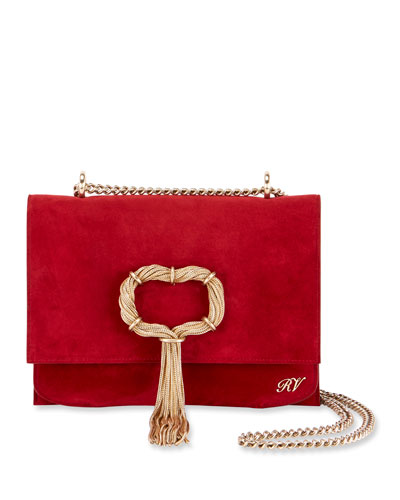 Club Chain Suede Evening Clutch Bag