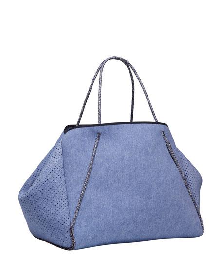 Guise Perforated Tote Bag, Denim Fade