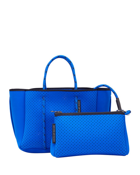 Petite Escape Perforated Tote Bag, Electric Blue