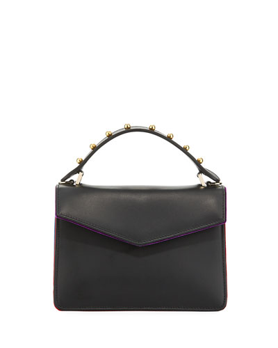 Pixie Mini Leather & Velvet Satchel Bag