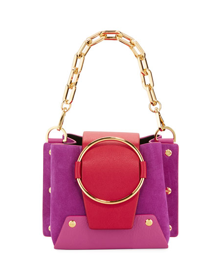 YUZEFI LIMITED Mini Delila Colorblock Crossbody Bag in Purple