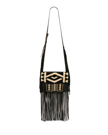 Embroidered Deerskin Fringe Shoulder Bag