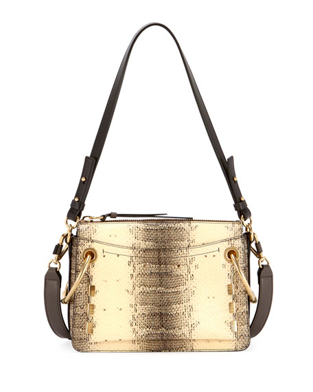 Roy Small Embossed Leather Satchel Bag