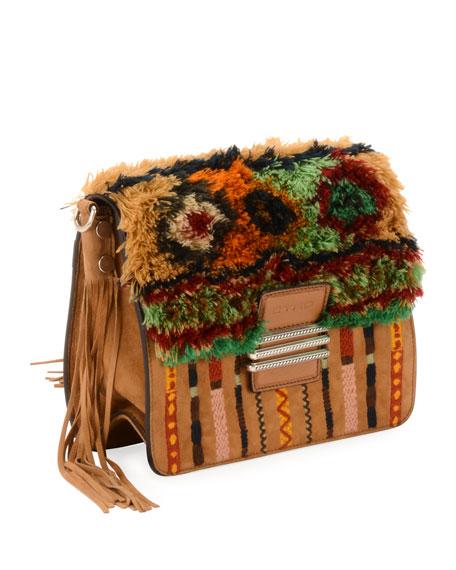 Rainbow Rug Stripe Embroidered Shoulder Bag