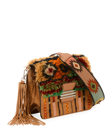 Etro Rainbow Rug Stripe Embroidered Shoulder Bag