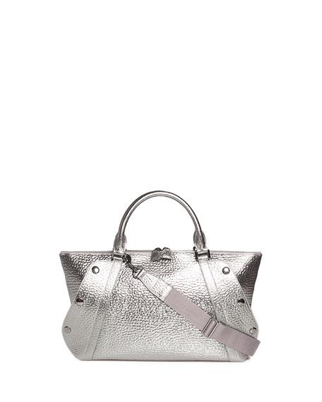Akris Aimee Small Metallic Hammered Leather Satchel Bag