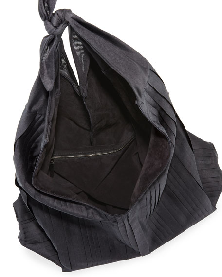 Bindle Pleated Silk Mesh Hobo Bag