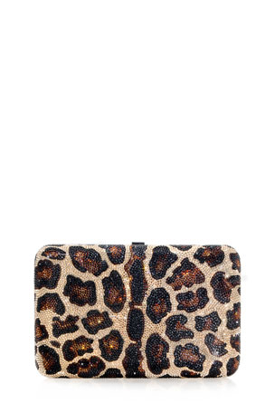 Judith Leiber Couture Seamless Leopard Crystal Clutch Bag
