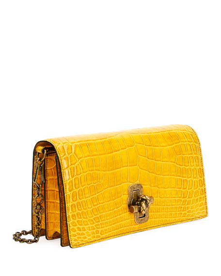 Shiny Crocodile Knot-Lock Clutch Bag with Strap