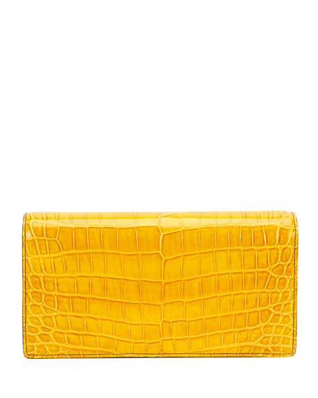 Shiny Crocodile Knot-Lock Clutch Bag with Strap
