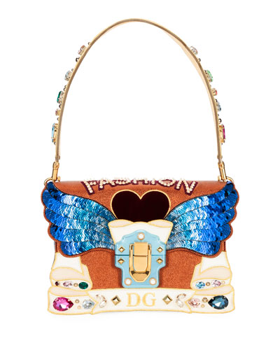 Lucia Fashion Angel Embellished Shoulder Bag