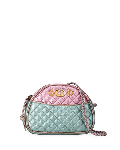 Mini Quilted Metallic Leather Crossbody Bag