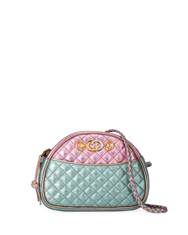 85f85246b28 Gucci Mini Quilted Metallic Leather Crossbody Bag