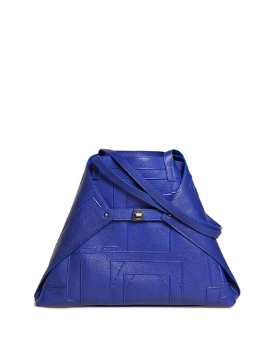 AI Medium Soft Blueprint Leather Shoulder Bag