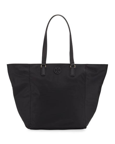 Tilda Nylon Shoulder Tote Bag, Black