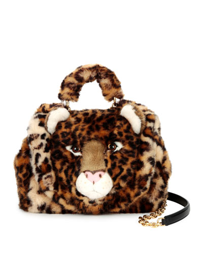 Sicily Small Leo Fur Satchel Bag